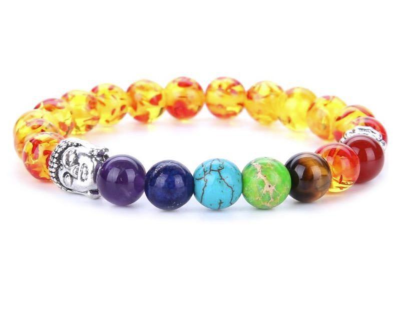 7 Chakra versilbert Buddha Perlen Armbänder Mode Stein Charme Schmuck 8mm Yoga Energie Armband Armreifen Gold, Splitter Unisex Lava Armband