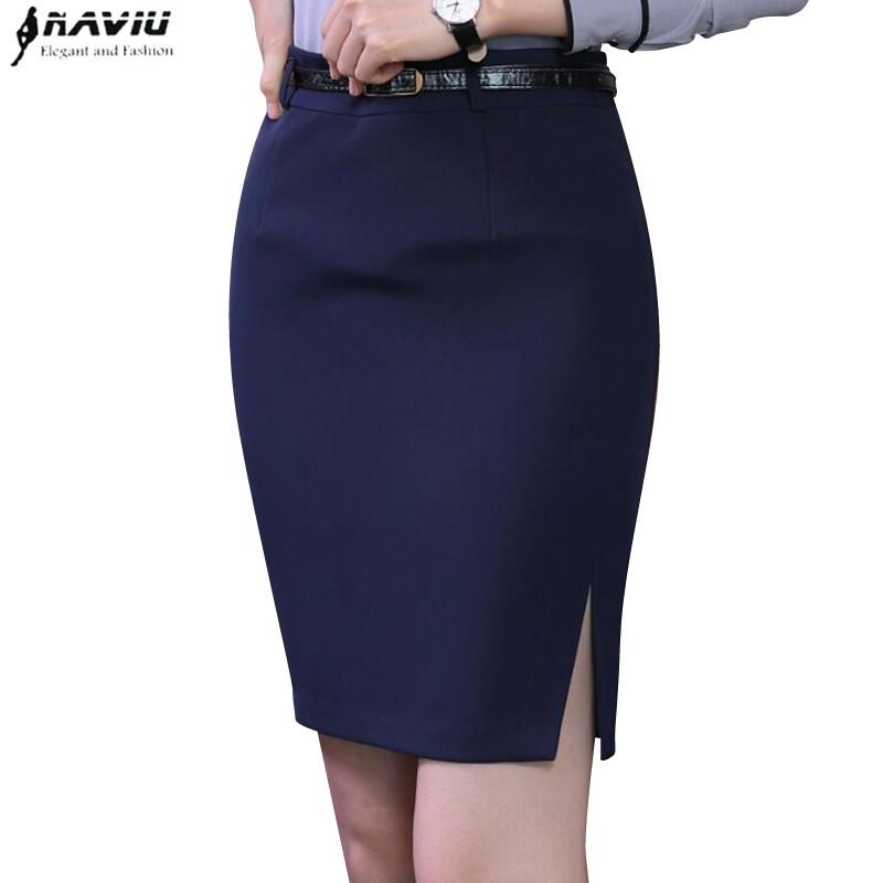 02110ceb0c 2019 Spring Fashion Slim Black Navy Blue Skirt Women Elegant All Match Slim  Formal Female Office Business Plus Size Mini Short Skirt From Merrylady, ...