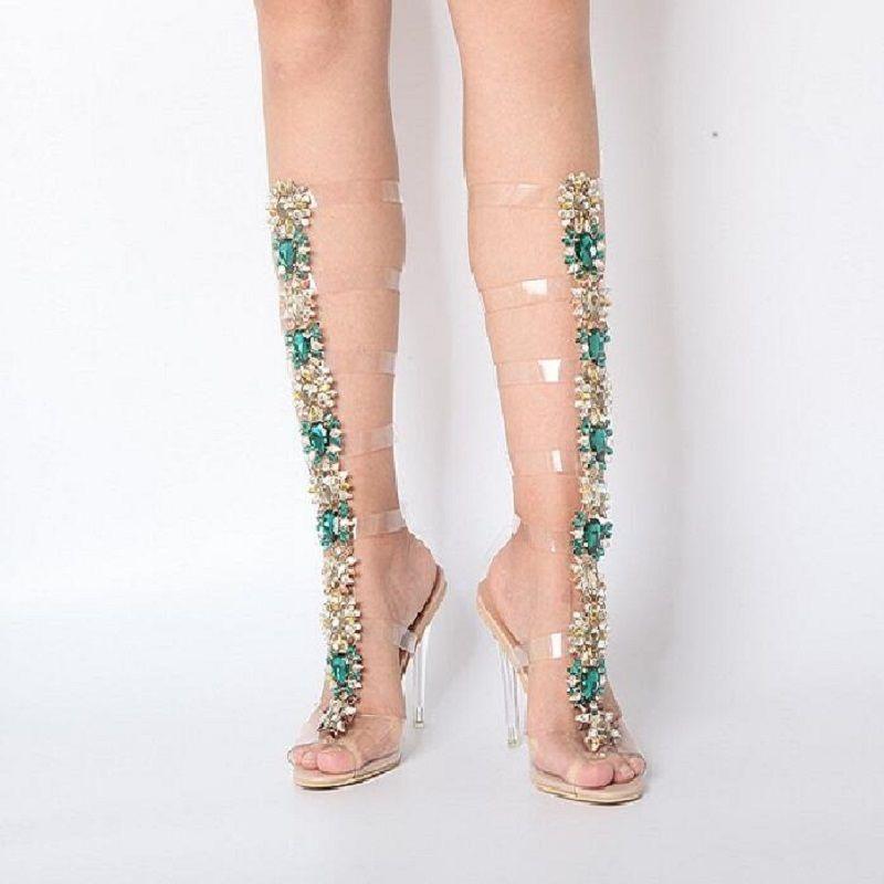 ea8ce0cf5a LTTL women gladiator clear sandals bling bling diamonds bootie crystal high  heel buckle strap transparent women wedding sandals