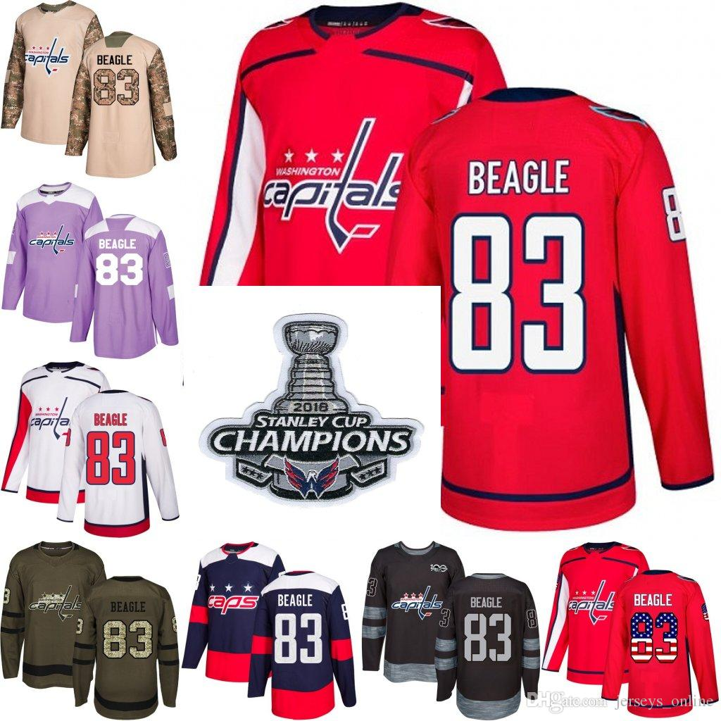 best sneakers a15db 704d7 2018 Stanley Cup Champions 83 jay beagle washington capitals Green red USA  Flag Purple Fights Cancer Practice Camo Veterans Day Jerseys