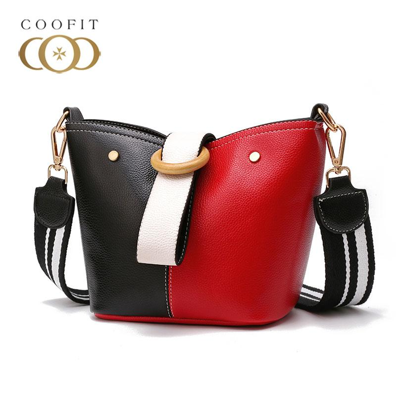 c929d986043c Coofit Hit Color Bucket Bags Women Handbag Fashion Leather Small Shoulder  Bag All-Match Crossbody Bags Hand Purse For Lady Girls