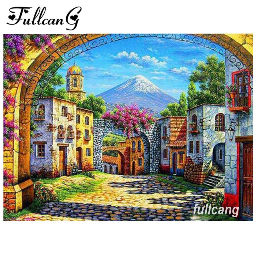 Satın Al Fullcang Mozaik Oya Diy 5d Elmas Nakış Köy Manzara Elmas