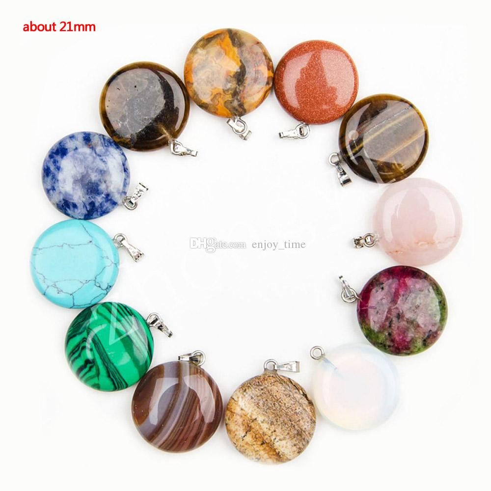 Fashion Cheap Healing Crystals Point Turquoise Amethyst Rose Quartz Chakra Heart Moon Natural Stone Pendants Charms For Stone Necklaces