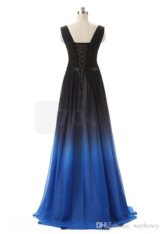 Cheap 2020 Elie Saab Evening Prom Dresses Belt Backless Gradient Color Black Chiffon Formal Occasion Party Gowns Real Photos Plus Size Sexy