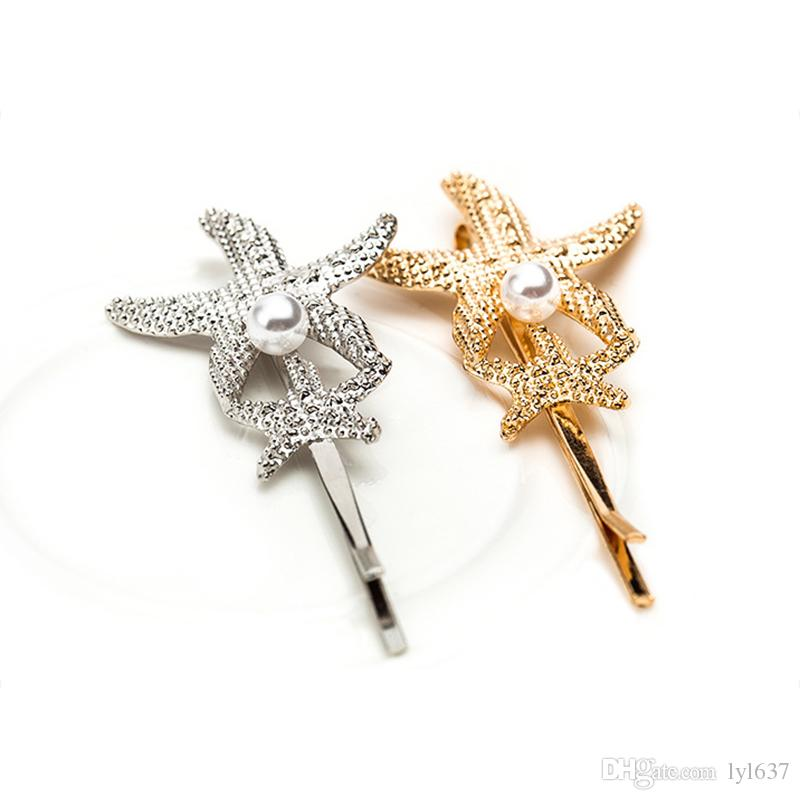 Gold-plated Shell Starfish Hair Clip Simple Alloy Imitation Pearl Barrettes Jewelry 2018 New Fashion Bridal Hairpins Wholesale