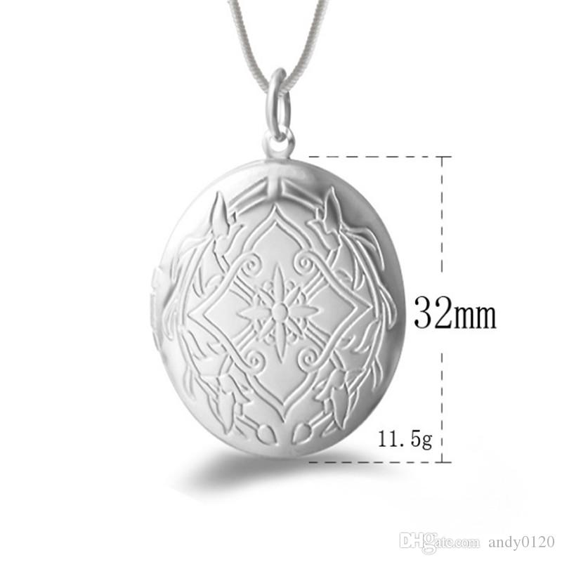 Fashion Vintage Photo Locket Necklace New 925 Sterling Silver Jewelry Snake Chain Necklace & Pendant For Women Gift