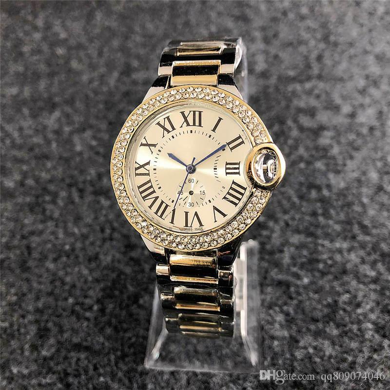2018 Fashion brand rose gold watch diamonds watches donna Designer Ladies dress white faces quadrante nero romano Orologio al quarzo in acciaio inossidabile