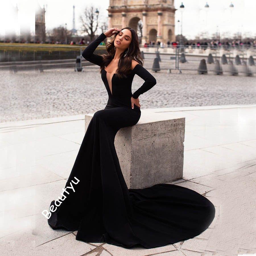 74aeb270c7e Sexy Black Mermaid Evening Dresses Plus Size 2018 Long Sleeves Off Shoulder  Satin Yousef Aljasmi Arabic Design Formal Celebrity Prom Gowns Summer  Evening ...