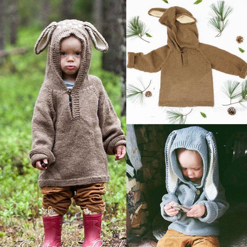 cc75b52b9a75 2018 Toddler Winter Coat Knite Sweater Rabbit Ear 3D Cute Baby ...