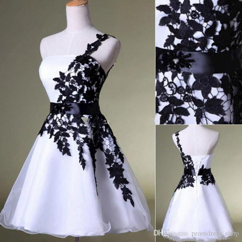 New Cheap Short Homecoming Dresses White And Black One Shoulder Lace