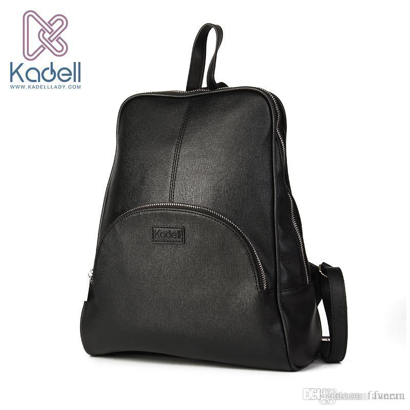 4f13684865e Wholesale- Kadell High Quality Leather Backpack Women Casual Style School  Bags for Teenagers Designer Bags Famous Brand Vintage Backpack