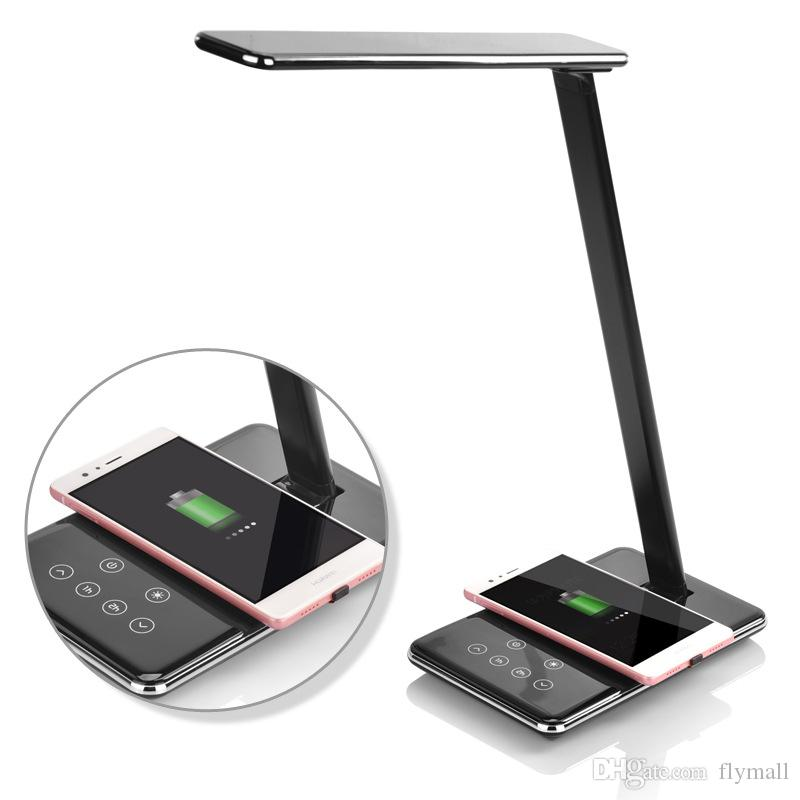 2018 Led Desk Lamp With Qi Wireless Charger Folding Eye Friendly Table Lamps Modes Book Light Desktop Usb Charging From Flymall