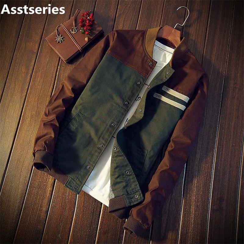 74302a7294b2 Autumn Korean Men S Jacket New Cultivate One S Morality Short Paragraph  Color Matching Collar Jacket Male Baseball Uniform M 5XL C18111301 Guys Coats  Coats ...