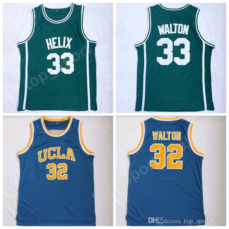bc6d31cf0 2019 2018 Newest High School 33 Bill Walton Helix Jerseys Basketball UCLA  Bruins College 32 Bill Walton Jersey Men Stitched Green Team Color Blue From  ...