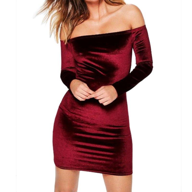 f2f2eb2de41c 2019 Sexy Off Shoulder Wine Red Sheath Velvet Dress Women Winter Party Long  Sleeve 2018 Elegant Pencil Bodycon Ladies Dress Vestidos From Uygapparel