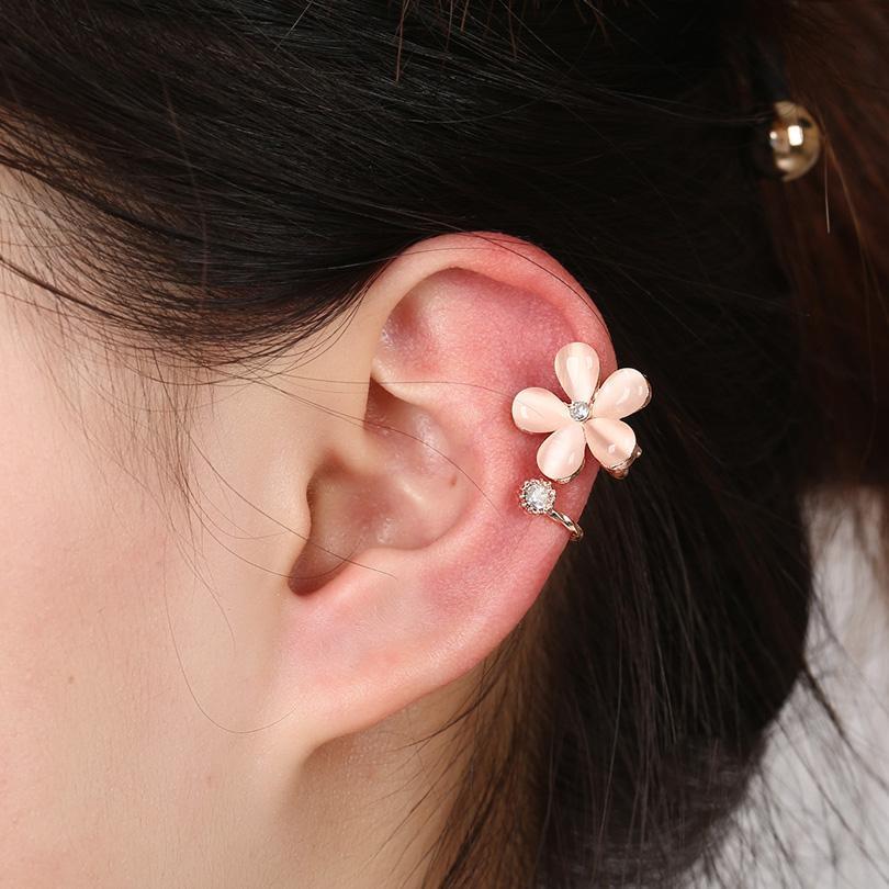 DIDNOT Cat's Eye Popular Crystal Clip Earrings Left Plum blossom Earring Clip Ear Cuff Personality Earring Jewelry FY164