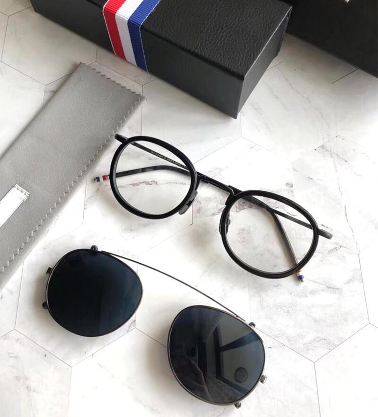 aa79d1ca382 2019 New Fashion Round Clip On Sunglasses Polarized Lens Men Women Thom  Brand TB710 Design Vintage Sun Glasses Oculos De Sol Cheap Eyeglasses  Online ...