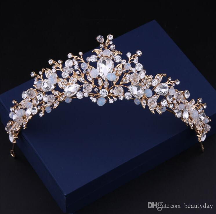 Bride Wedding Crown: Rose Gold Plated Wedding Crown Bridal Bridesmaid Flower