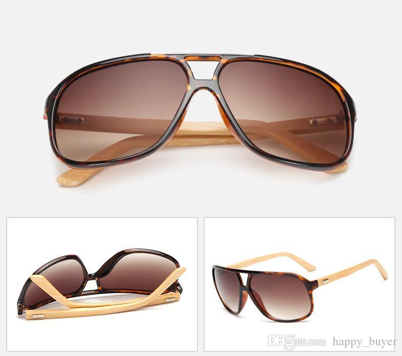 Hot Selling Retro Fashion Men Women Trend Bamboo Sunglasses Summer Beach Holiday Trave Sun Glasses Gray Resin Lenses Eyeglasses