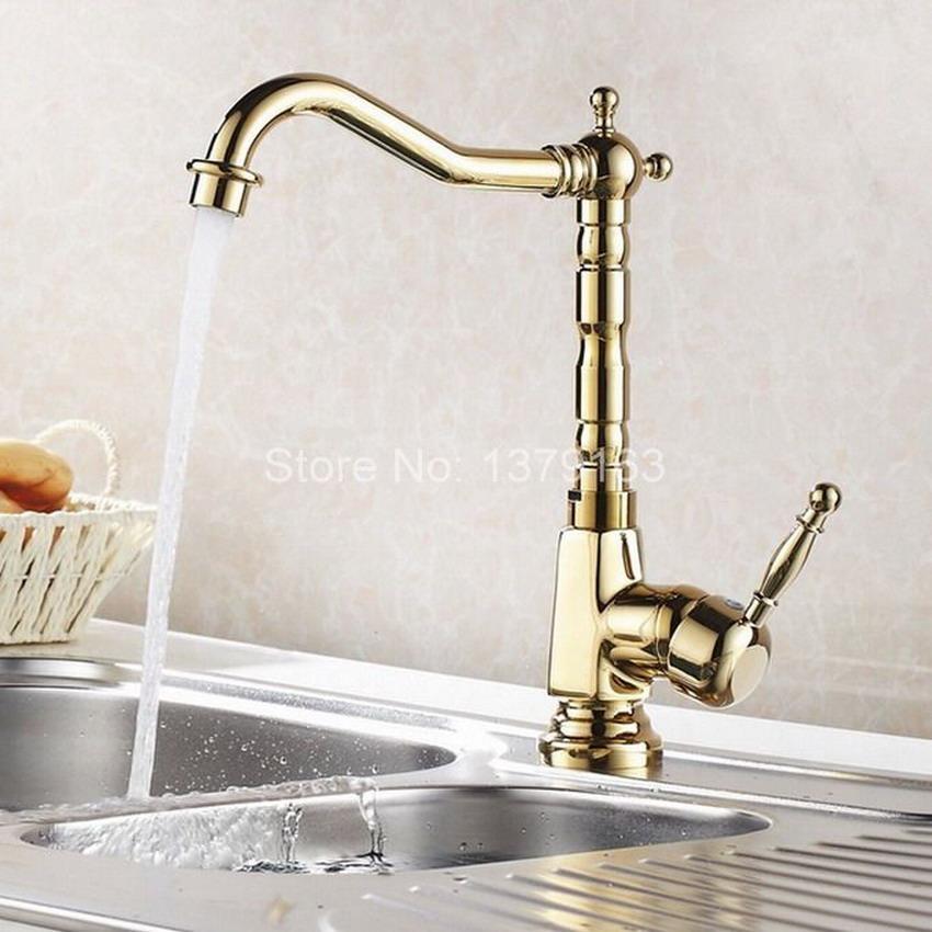 2019 Golden Brass Kitchen Sink Faucet One Hole Handle Modern Gold