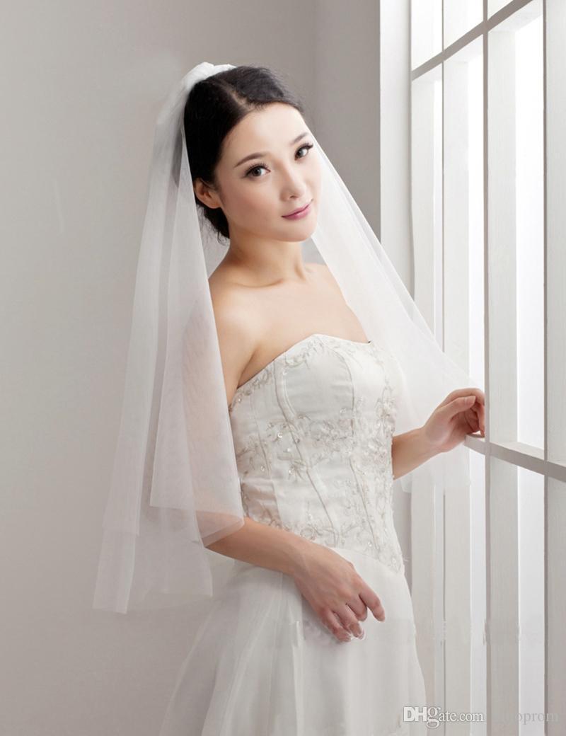 Accessori Sposa economici Elegante Bianco Avorio Semplice Moda Corto Economici Pettine Veli da sposa Economici Semplice Pettine Velo da sposa