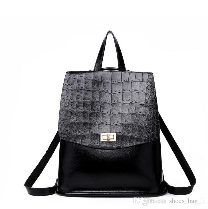 2018 New Crocodile Pattern Women s Casual Shoulder Bag Fashion Style Formal  Occasion Backpack Large Capacity Women s Bag High Quality Women s Casual ... b4f4b81c4f
