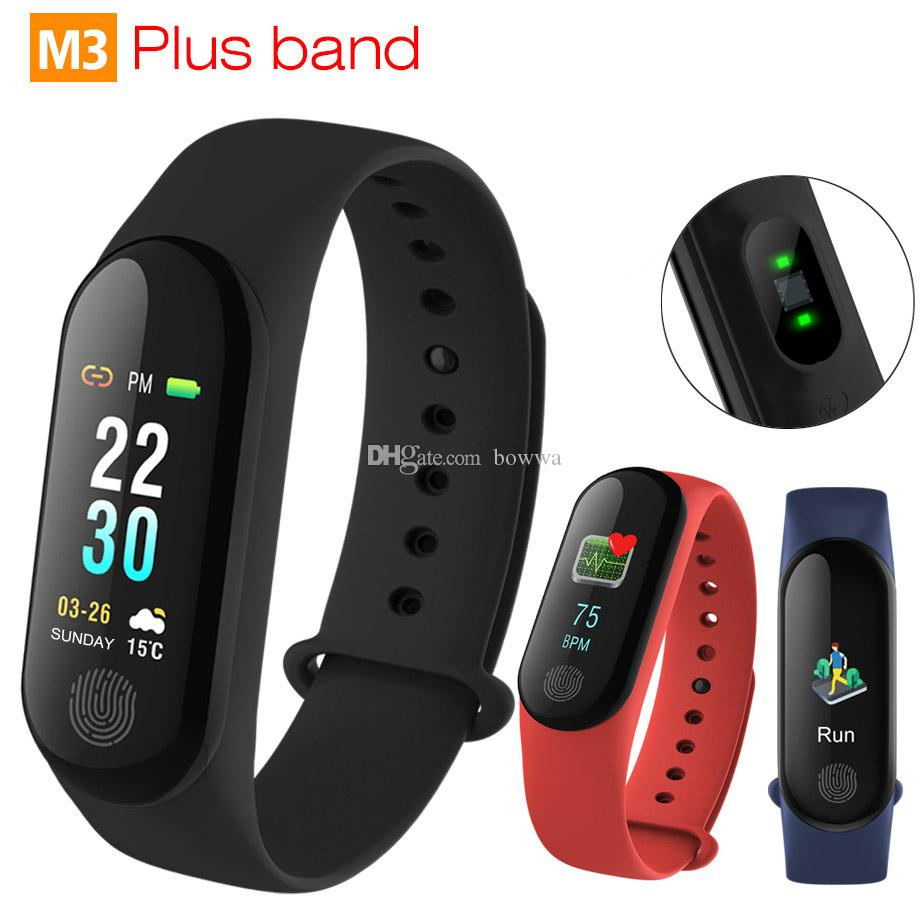 M3 Plus Smart Bracelet Heart Rate Blood Pressure Phone SMS Multi-Sports  Mode Weather Automatic Bright Screen Smart Band 3 Wristbands