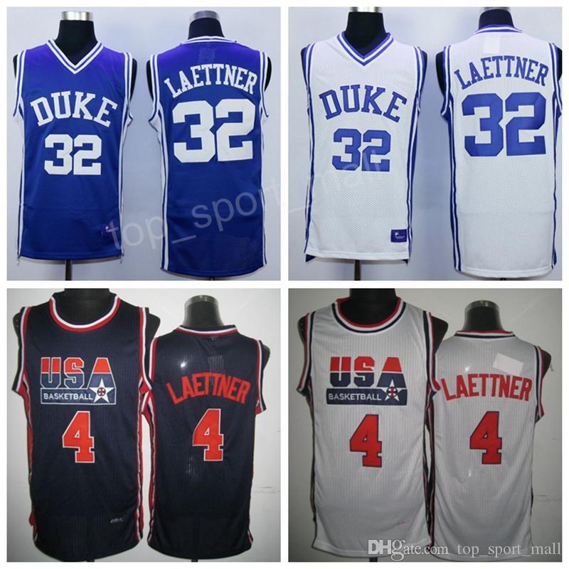 b829aa989 1992 USA Dream Team 4 Christian Laettner Jersey Men Navy Blue White Duke  Blue Devils Basketball 32 Laettner College Jerseys Sport Uniform Christian  Laettner ...