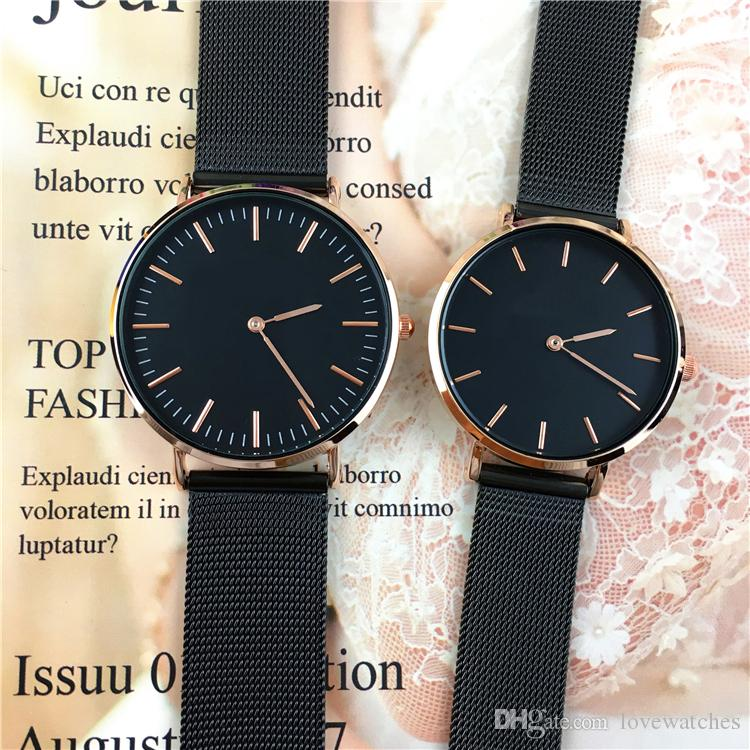 2018 Fashion Hot sale women/man Watch lovers wristwatch Cool Black lady Quartz free box Wholesale price Top Quality Gift Accessories Luxury
