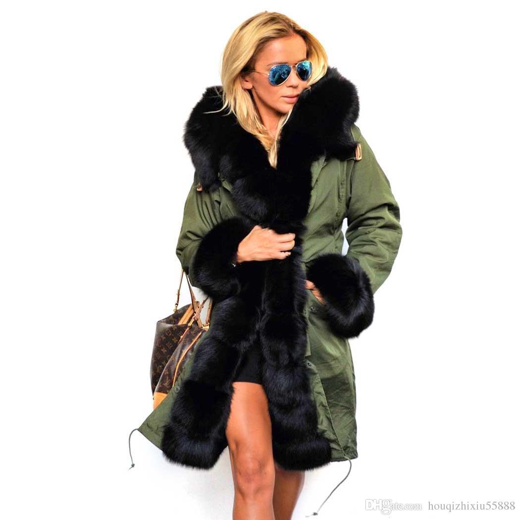 be5326b4d2f4 Acheter Femmes Manteaux D hiver Fausse Fourrure Femmes Vestes Réel Grand  Col De Fourrure Épais Dames Vers Le Bas Manteau Long Manteau D hiver Femmes  De ...
