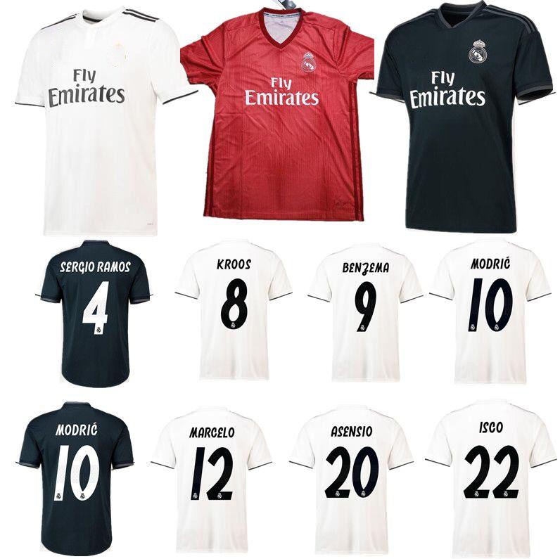 Perfect 2019 Jerseys ReAL Madrid 2019 Camiseta De Fútbol Local Lejos  Tercera Liga De Campeones AAA 8 KROOS   22 ISCO MODRIC 10 18 19 Uniforme De  Fútbol Por ... f3acc693109f8