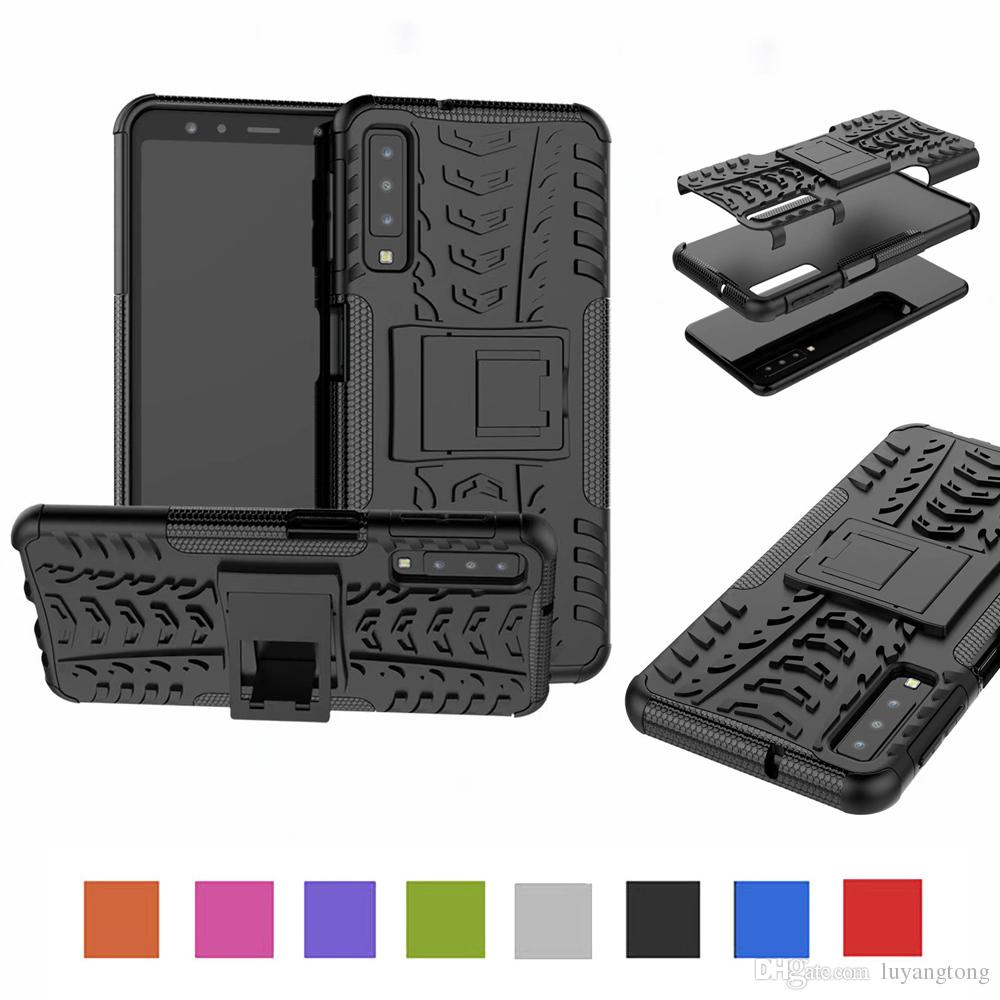 best loved 0722c 84547 Phone Case For Samsung Galaxy A7 2018 Case TPU & PC Dual Armor Cover Hard  Silicone Cover A750 Anti-Knock Combo Back Case A750FN Funda