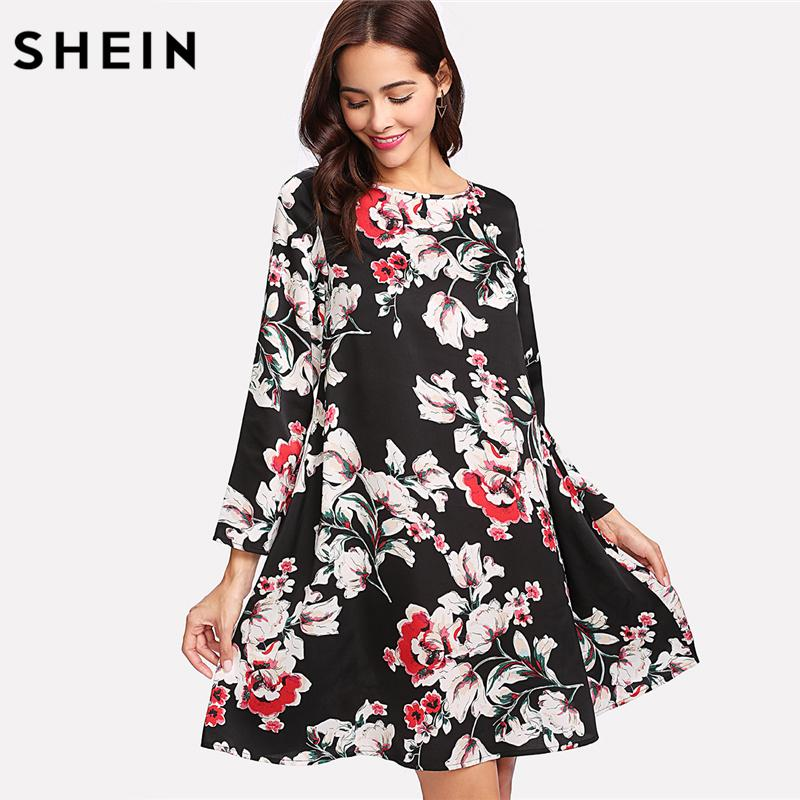 7d4ba1908a 2019 SHEIN Floral Dresses Multicolor Long Sleeve A Line Vacacion Dresses  Ladies Spring 2018 Flower Print Swing Dress From Edmund02, $26.23 |  DHgate.Com
