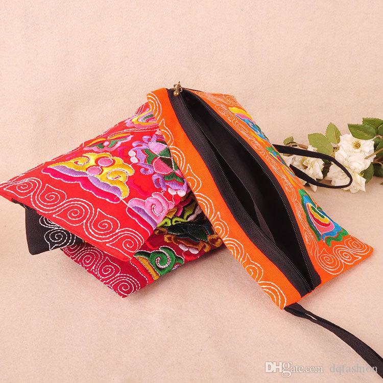 Bolso de embrague del color de las mujeres del estilo nacional bolsa de la correa del bordado del color del contraste Elegante pequeño bolso del teléfono móvil mini cartera envío gratis