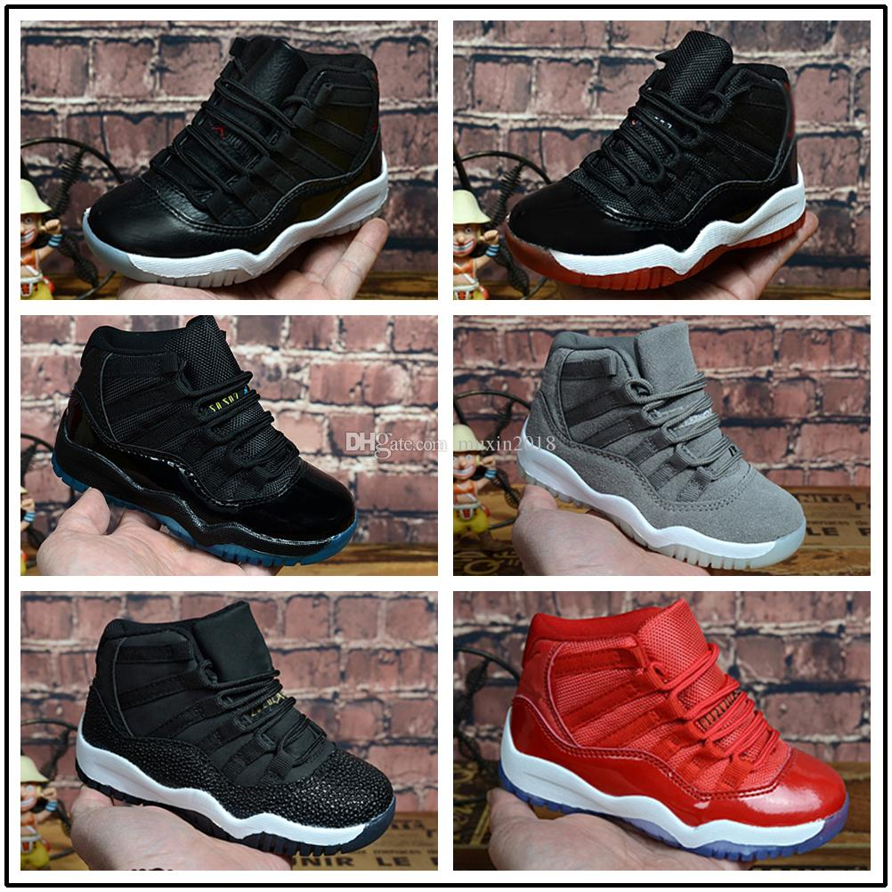 timeless design fea81 5548a Großhandel Nike Air Jordan Aj11 Heißer Verkauf Kinder 11 11s Space Jam Bred Concord  Gym Red Basketball Schuhe Kinder Junge Mädchen 11s Midnight Navy ...