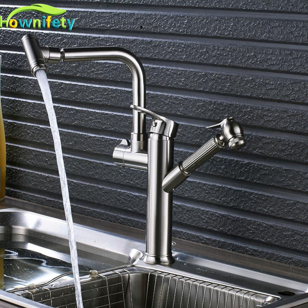 2018 Newly Design Brushed Nickle Kitchen Faucet Pull Out Swivel ...