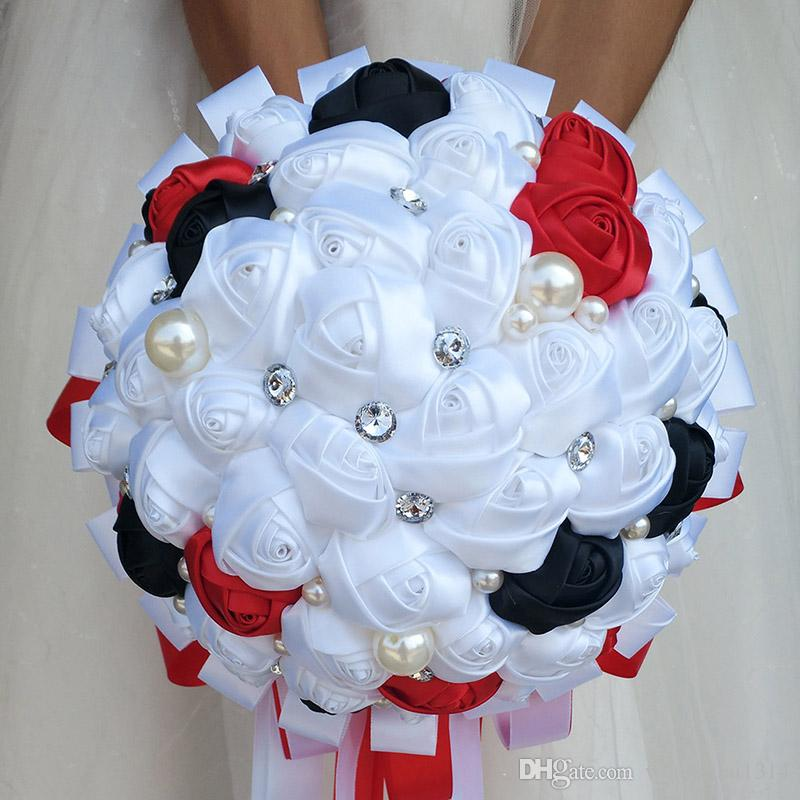 White Red Black Wedding Bouquet Ribbon Holding Flower Artificial