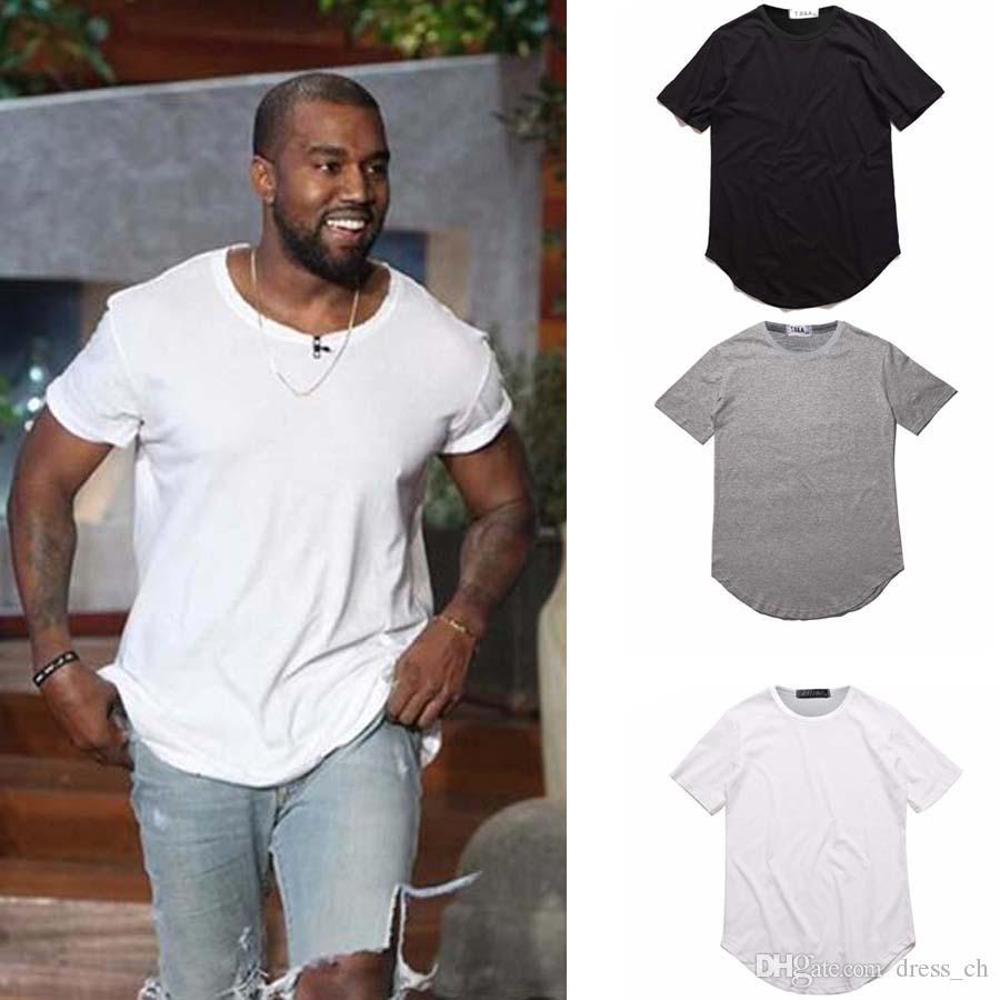79509a79c Men's T Shirt Kanye West Extended T-Shirt Men's clothing Curved Hem Long  line Tops Tees Hip Hop Urban Blank Justin Bieber Shirts
