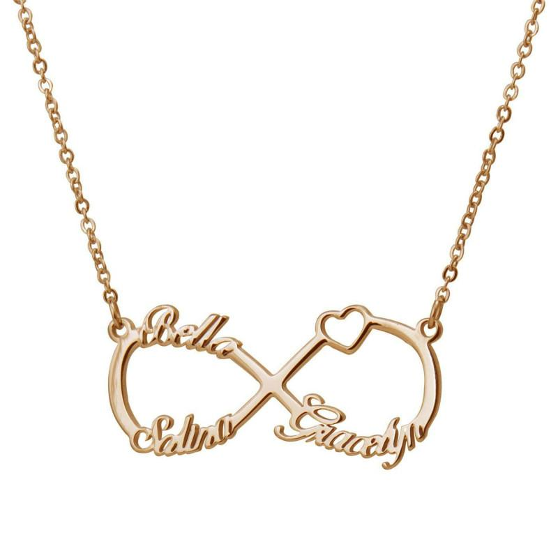 Personalized Customized 3 Name Heart Infinity Necklace Gold For Women Stainless Steel With Any Name Statement Necklace Nl2667