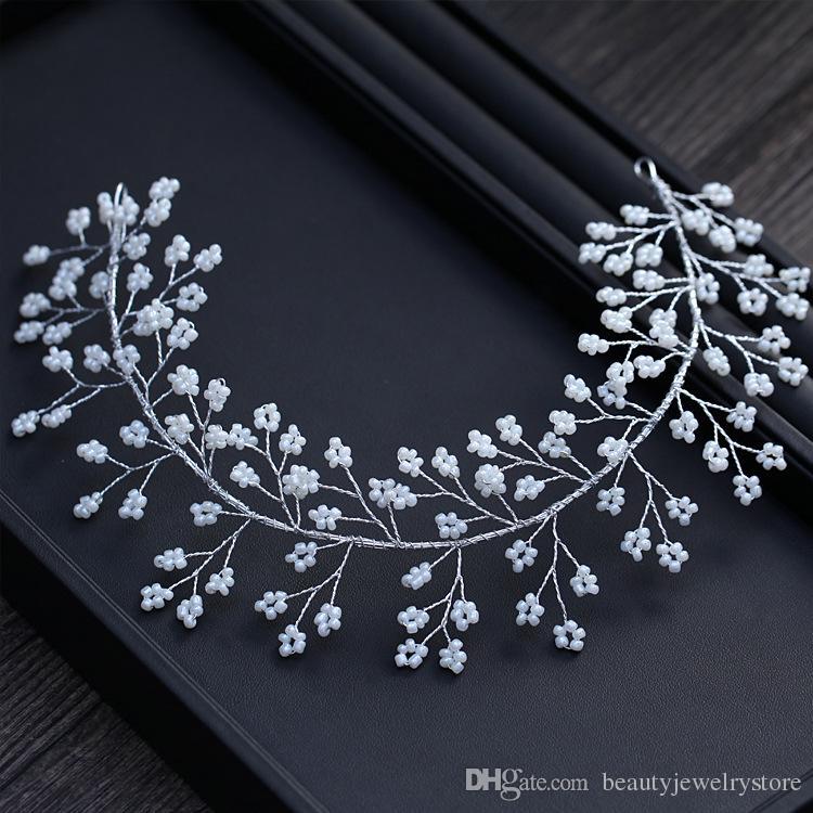 Blanc Bandeau De Mariage Pour La Perles De Mariée Accessoires De Mariage De Bijoux De Cheveux De Soirée Des Femmes 2018 bruids haaraccessoires hoed