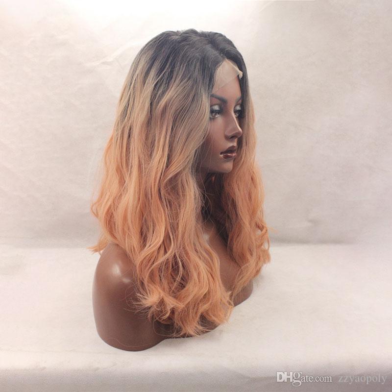 Ombre noir à orange perruque avant de dentelle synthétique pour les femmes ligne de cheveux résistant à la chaleur résistant à 130% à mi-main lié