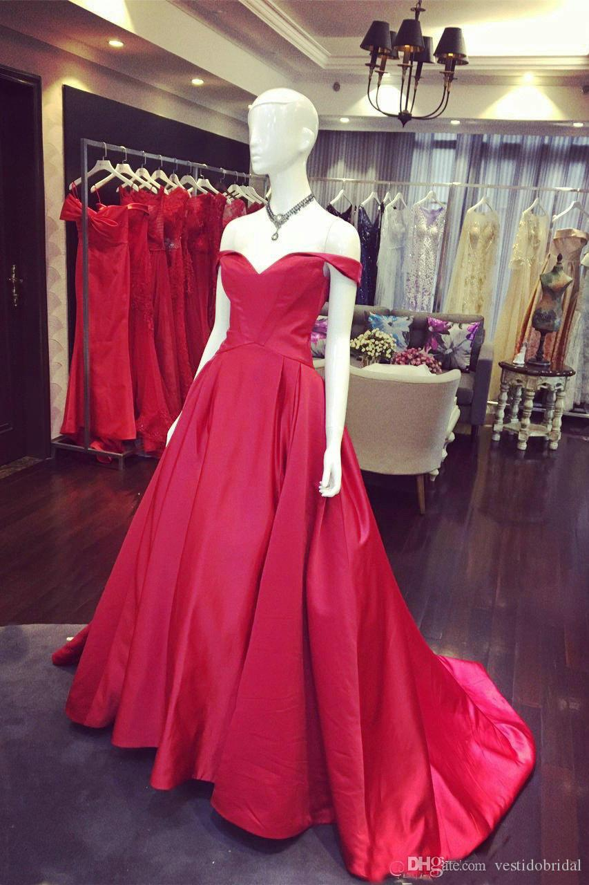 2018 Real Picture Red Taffeta Prom Dress Long Cap Sleeve Corset A ...