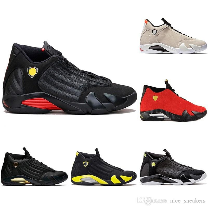 d364c05c1728e3 Men The Last Shot 14 14s Basketball Shoes Desert Sand DMP Black Toe Red  Suede Indiglo Thunder Mens Sports Trainers Sneakers US 8 13 Discount Shoes  Online ...