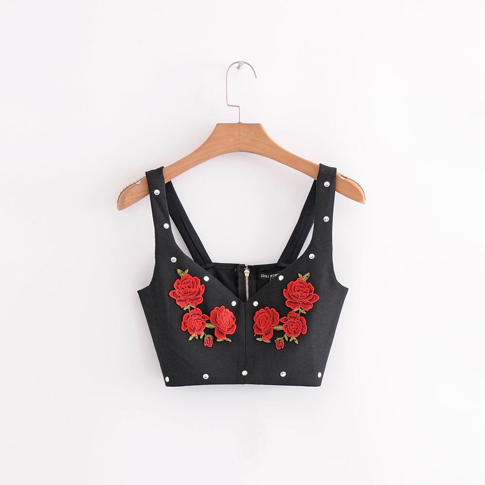 5e4998de82500 Women Crop Top Black Flower Emboridery Rivet Ladies Sexy Camis ...