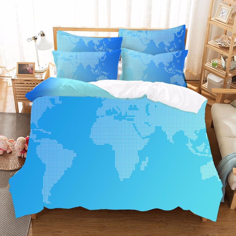 World Map Sheet Set.World Map Bedding Set Vivid Printed Blue Bed Duvet Cover With