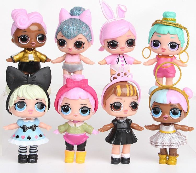 8Pcs/lot LOL Doll American PVC Kawaii Children Toys Gift Anime Action Figures Realistic Reborn Dolls 9cm