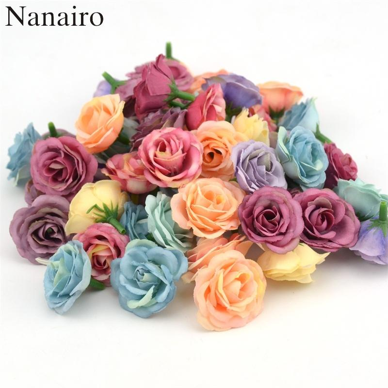 100pcs 3cm Mini Rose Cloth Artificial Flower For Wedding Party Home Room Decoration Marriage Shoes Hats Accessories Silk Flower