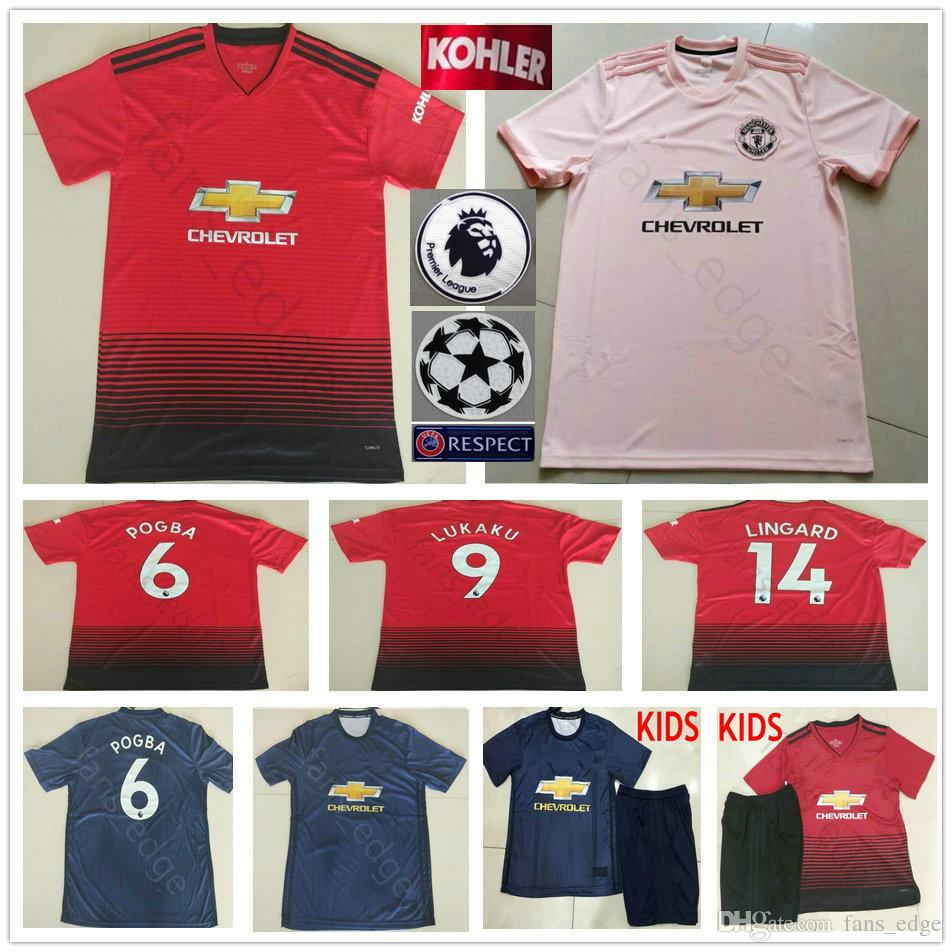 18 19 Manchester United Soccer Jersey 6 POGBA ALEXIS LUKAKU RASHFORD  LINGARD FRED Home Away Third Men Women Kids Youth 2019 Football Shirt  Manchester United ... dcda90d2e