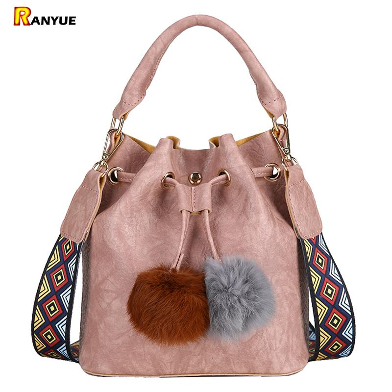 Colorful Strap Fur Ball Tassel Bucket Bag String Handbag Women PU Leather Shoulder Crossbody Bags For Women Sac Ladies Hand bags