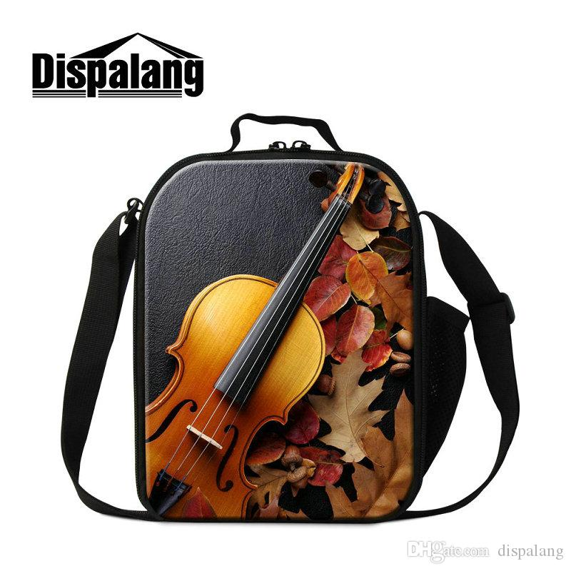 Portable Insulated Lunch Bags For Children Violin Printing Lunch Sack Kids Small Picnic Lunchbox For School Students Bolsa Termica Ice Packs